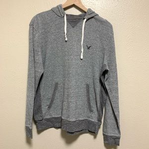 American Eagle men's gray thermal pullover hoodie